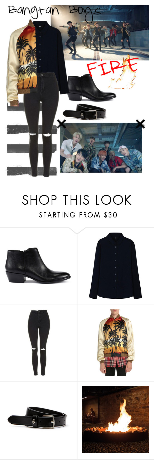 """Bts ""Fire"" Jimin Inspired Outfit"" by daisslovebeauty ❤ liked on Polyvore featuring Sam Edelman, Uniqlo, Topshop, Yves Saint Laurent and Lacoste"