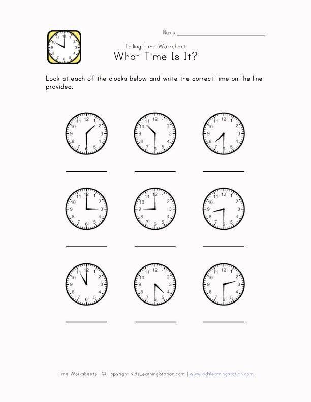 Time Worksheet Telling Time Worksheets Time Worksheets Kindergarten Telling Time
