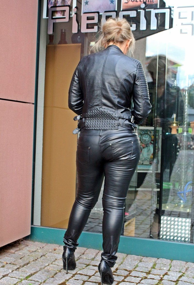 Cute sexy bbw in tight leather pants