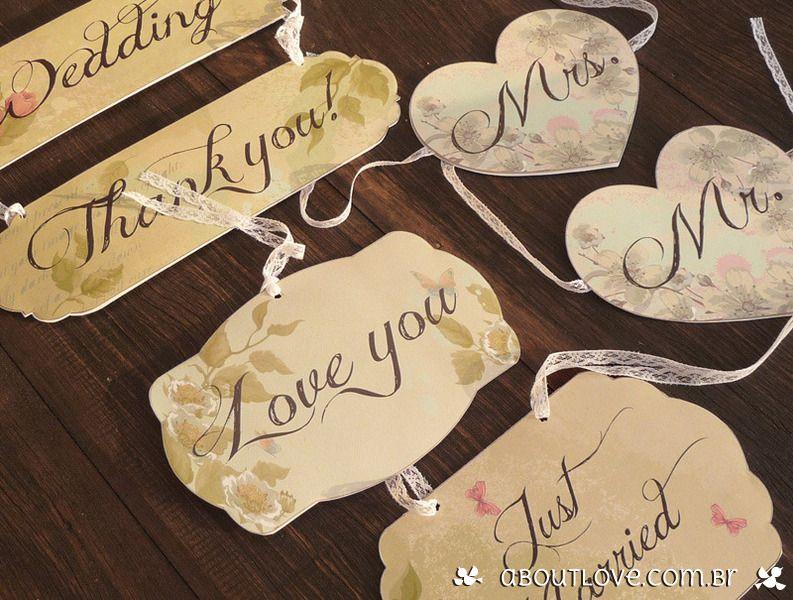 Conjunto de plaquinhas vintage para decoração de casamento - AboutLove