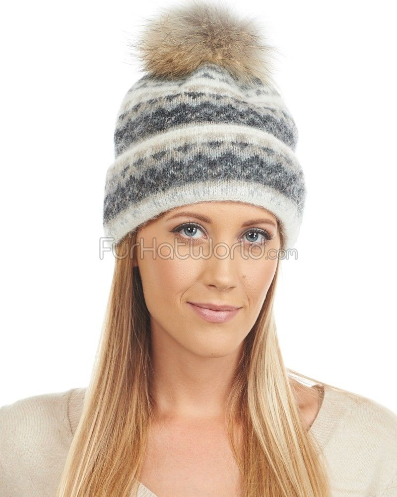 ae28ef6f Icelandic Knit Wool Double Cuff Beanie Hat with Coyote Pom Pom ...