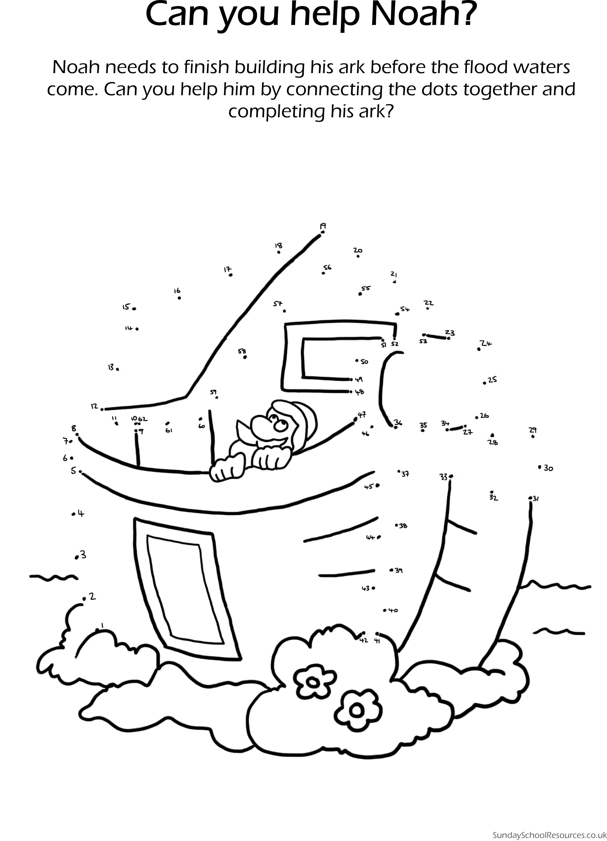 Noah The Ark Dot To Dot Sunday School Worksheet Sunday