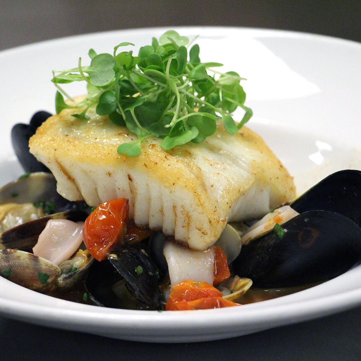 Halibut In Guazzetto With Mussels Clams Calamari Spring Seasonal Menu At Catch American Seafood At Lux Santa Monica Restaurants Seafood Restaurant Offers