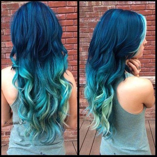 Blue Fading Into Teal Mermaid Hair Color Hair Styles Teal Ombre Hair