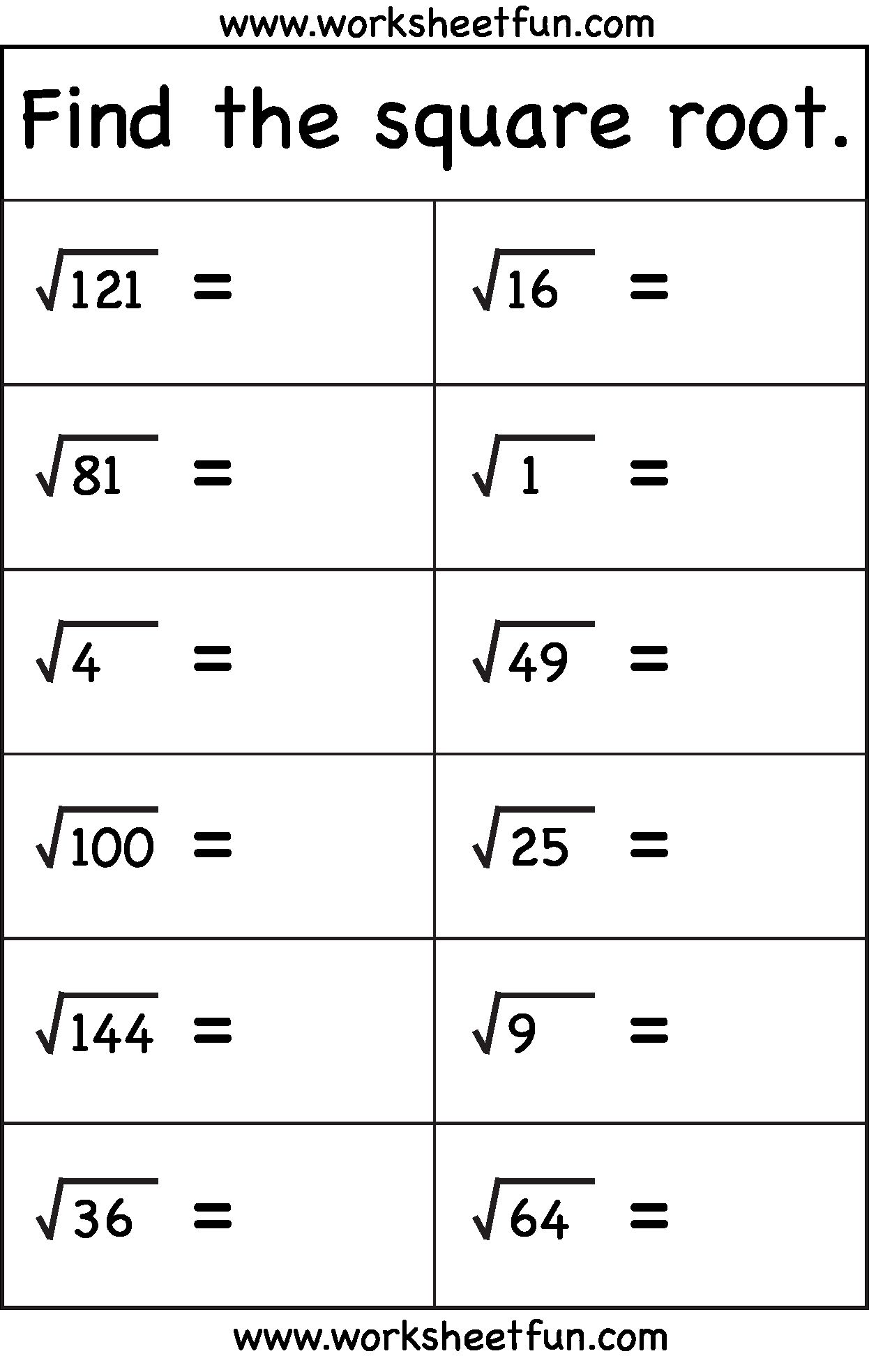 50 Squares And Square Roots Worksheet In