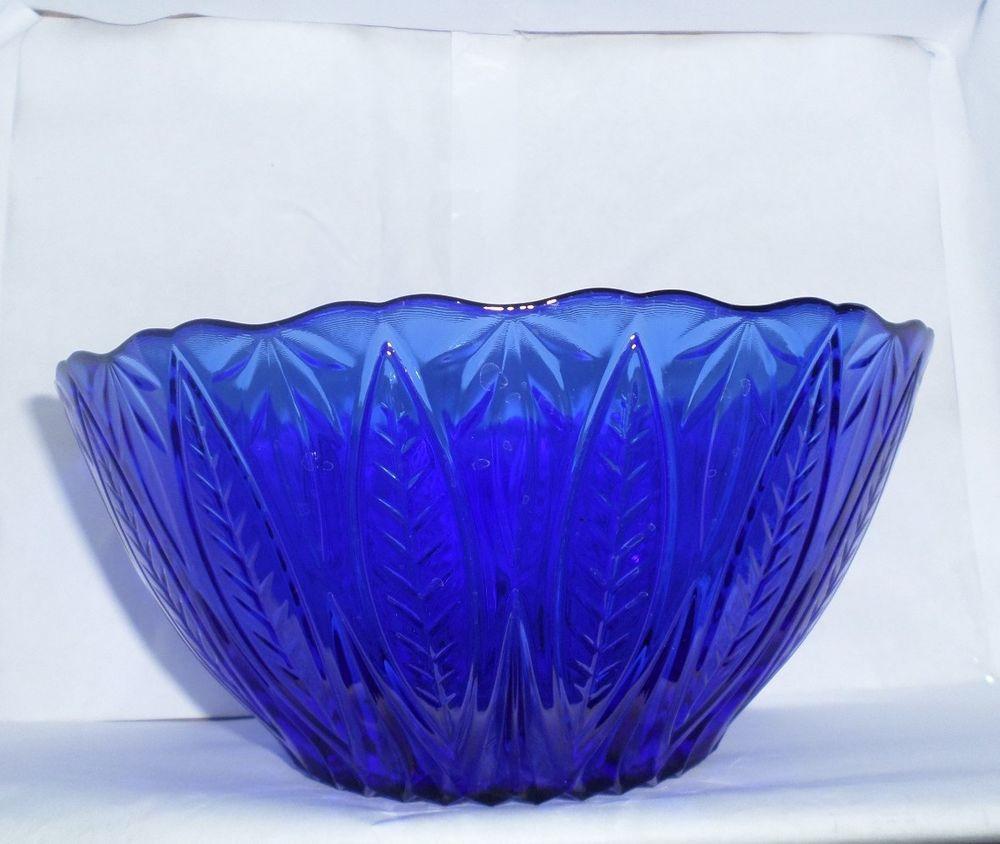 Sapphire Blue Large Leaves Pressed Cobalt Serving Bowl Leaf