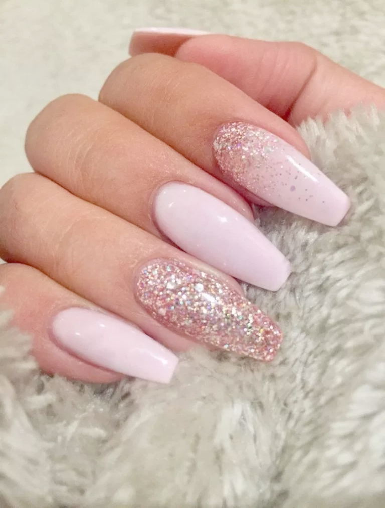 Home Blend Of Bites Pink Glitter Nails Coffin Shape Nails Baby Pink Nails