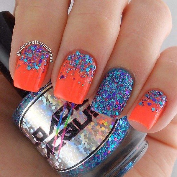 Exciting Half Moon Glitter Nail Art In Blue And Fuchsia Glitters Neon Orange Matte Polish
