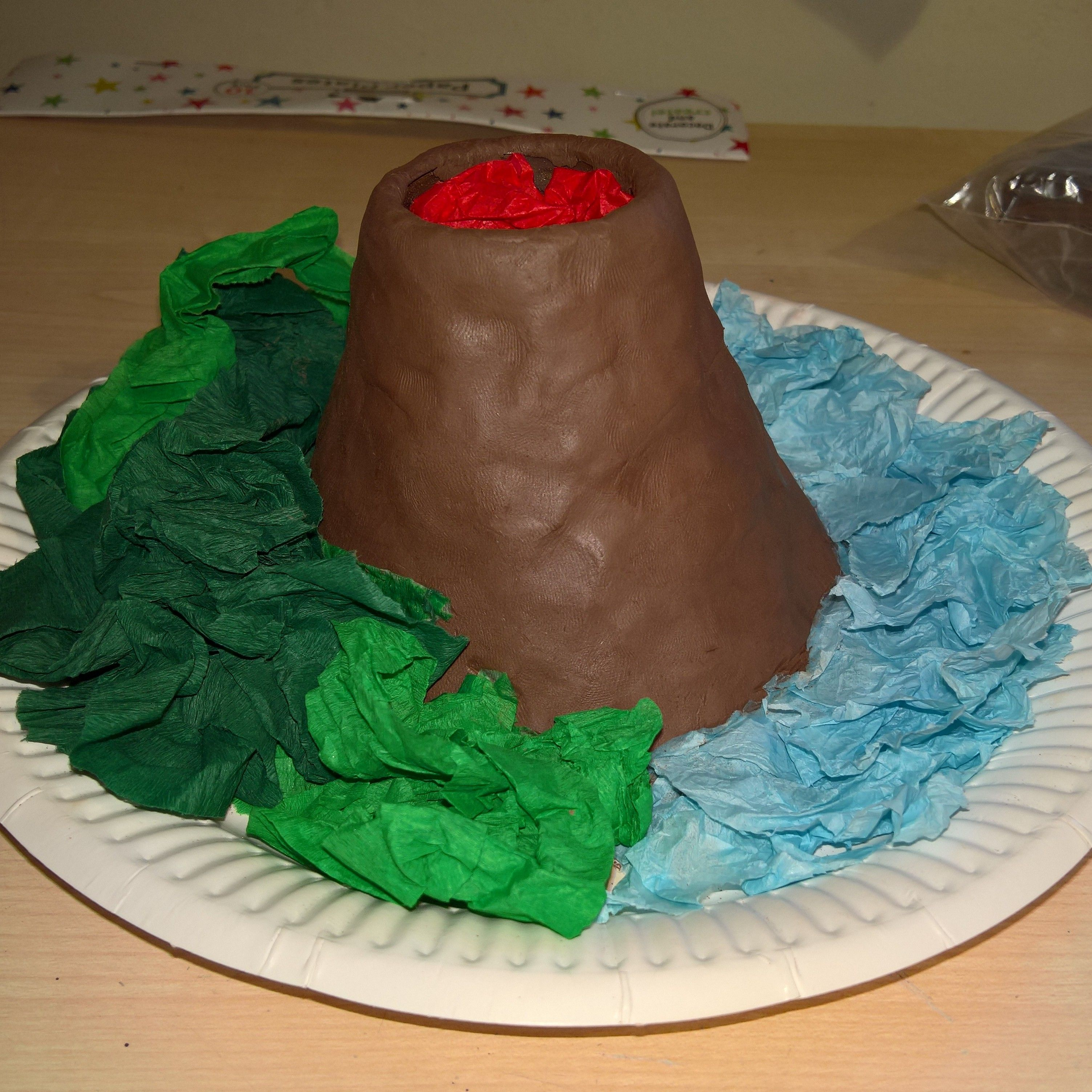 Easy Volcano Project With Children Air Dry Clay Wrapped