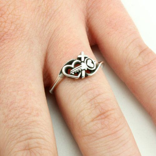 Christian Womens 0925 Sterling Silver Abstinence Key Hearts