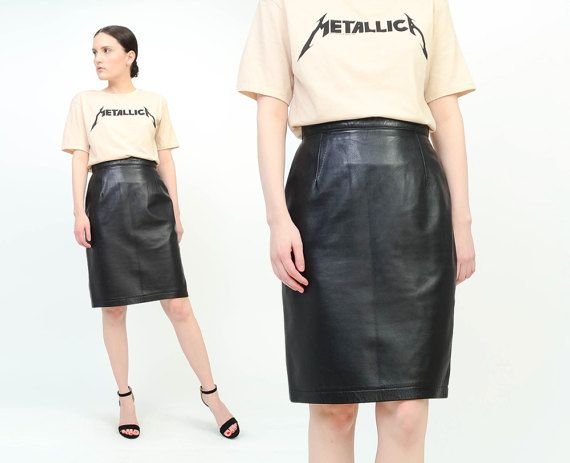 ba43b0d58118 Vintage 80s Black Leather Skirt High Waisted Fitted Minimal Rocker ...