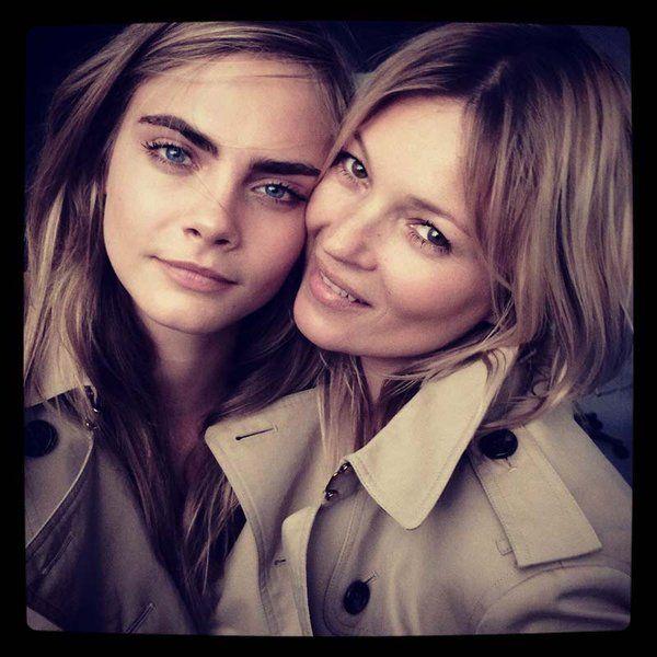 Cara Delevingne and Kate Moss, Burberry Bosom Buddies