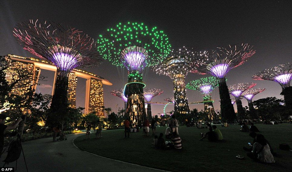 puts our christmas lights to shame mesmerising forest of solar powered trees dazzle in the singapore night sky gardens by the baychristmas - Garden By The Bay Music