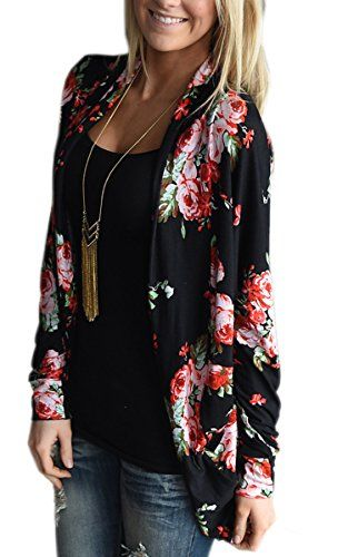 81428dcf9071 Ecowish cardigan aperto da donna stile kimono boho-chic soprabito casual a  maniche lunghe coprente e irregolare Black Large