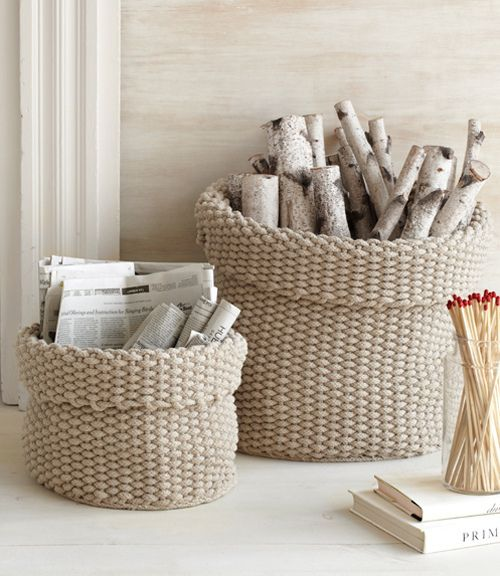 white knitted home accessories