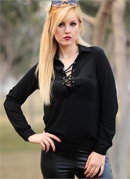Bayan Bluz Ipli Yaka Siyah Kadin Moda Kadin Giyim