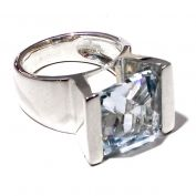 Silver and aquamarine squared ring