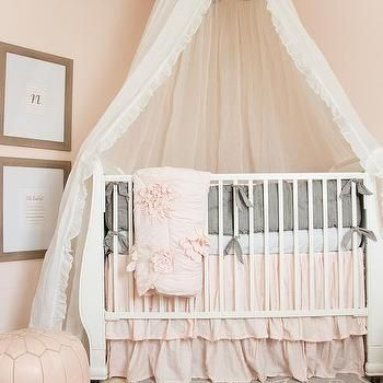 Pink Nursery Design With Caddy Corner Crib And Tulle Canopy Baby