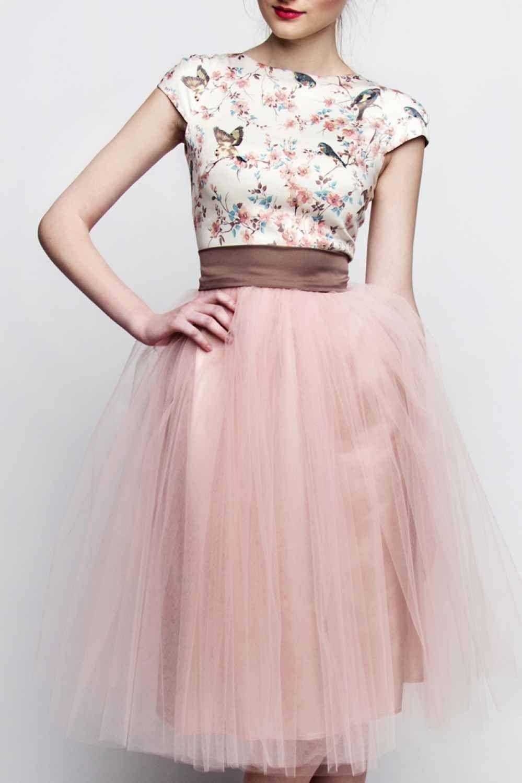 standesamt kleid rosa braun kurz mit t llrock individuelle. Black Bedroom Furniture Sets. Home Design Ideas