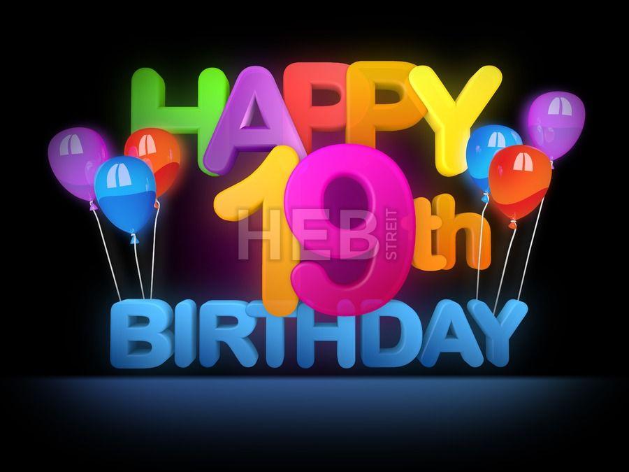 happy 19th birthday title dark by hebstreits vector