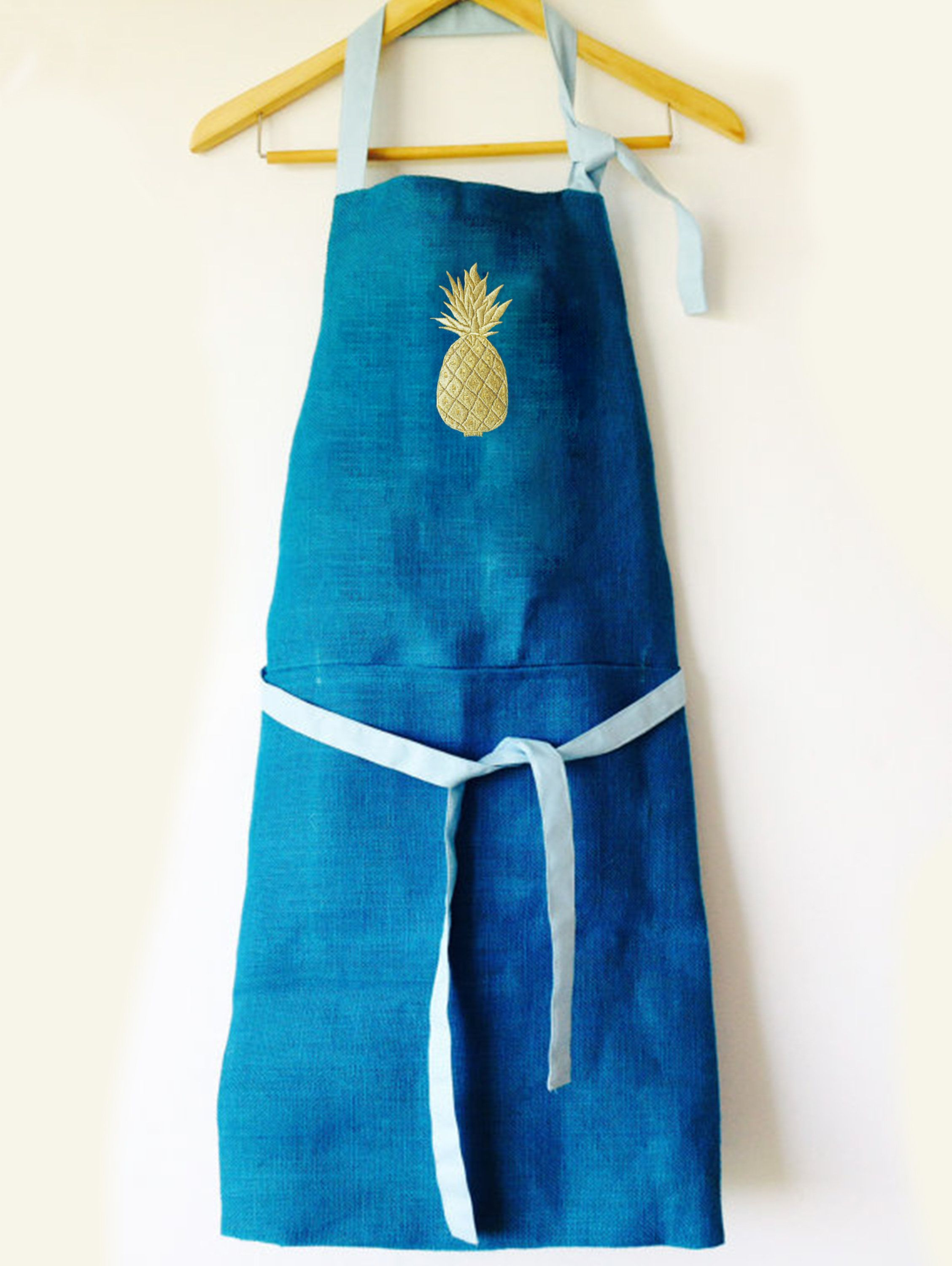 Pineapple Burlap Apron, Blue Aprons, Kitchen Apron, Embroidery Jute ...