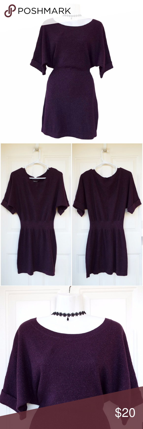 NEW Express Purple Sparkle Fall Sweater Dress S NWOT! New without ...