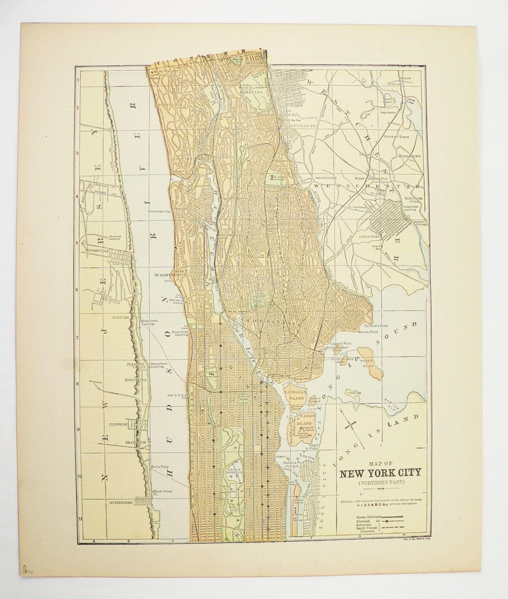 Map Of Northern New York.Northern New York City Map Nyc 1896 Vintage City Map Bronx Harlem