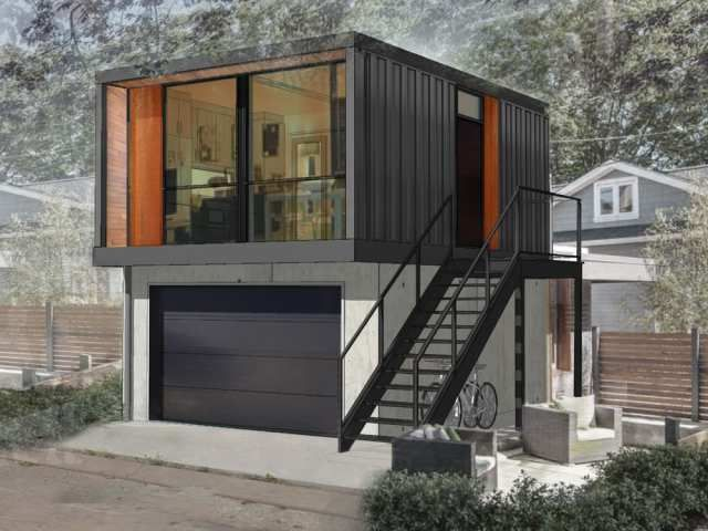 Shipping containers make suite digs in Edmontons back
