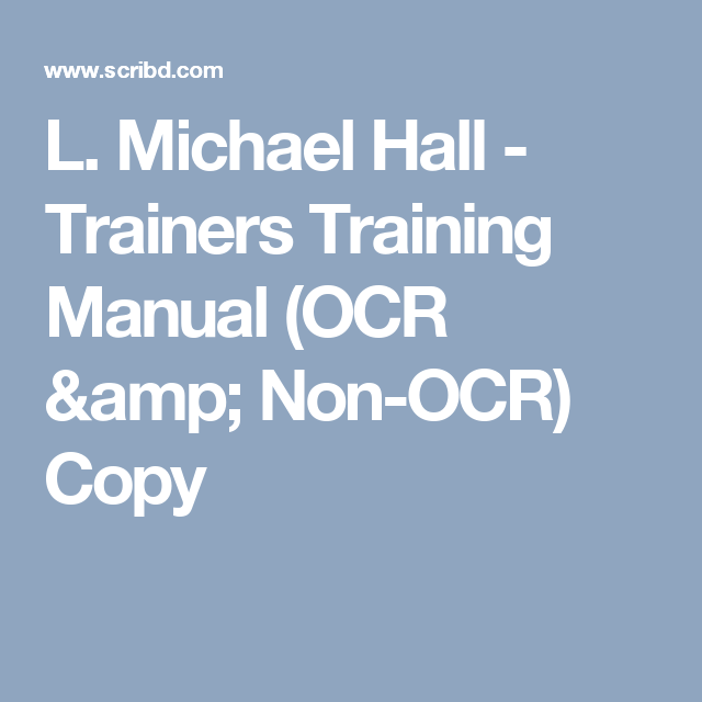 Nlp manual array l michael hall nlp trainers training manual scribd nlp rh pinterest fandeluxe Gallery