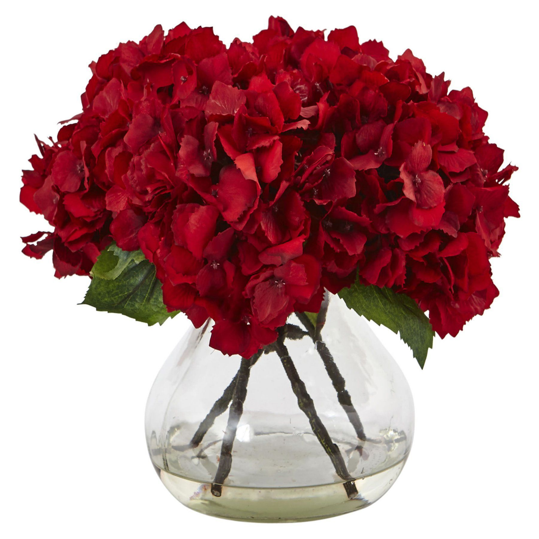 Nearly Natural Red Hydrangea With Vase Silk Flower Arrangement Flower Vase Arrangements Red Hydrangea Red Flower Arrangements
