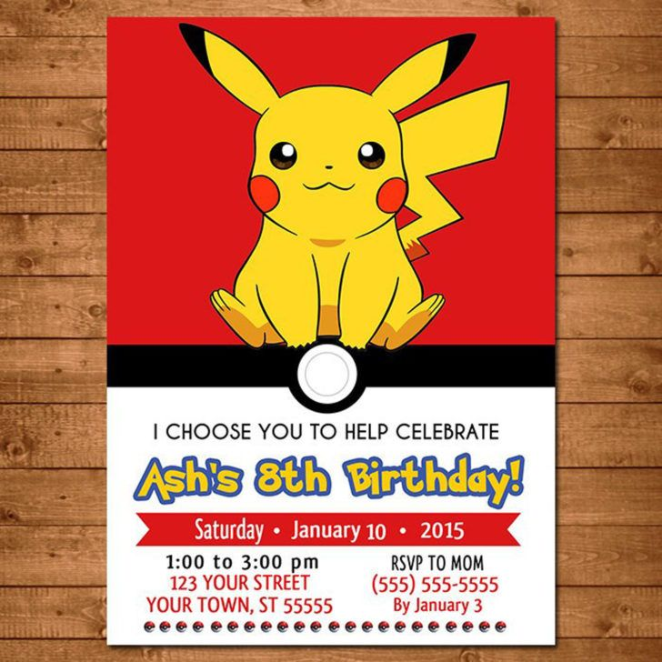 Birthday Stunning Pokemon Pikachu Birthday Party Invitation Pokemon