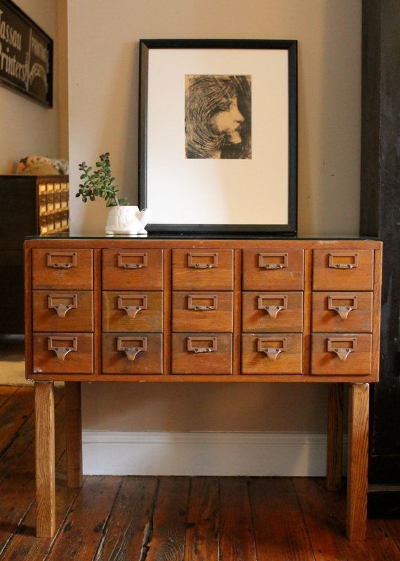 Reserved for Dana Vintage Library Card Catalog File Cabinet with .
