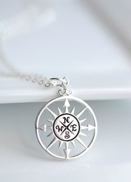 Sterling silver compass necklace jewelry and head pieces sterling silver compass necklace perfect graduation gift handmade by belleza mia jewelry aloadofball Image collections