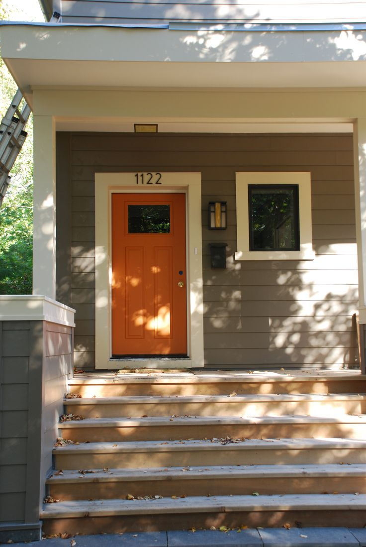 Exterior Paint Colors: Grey Walls, White Trim, And Benjamin Moore Buttered  Yam Painted Front Door