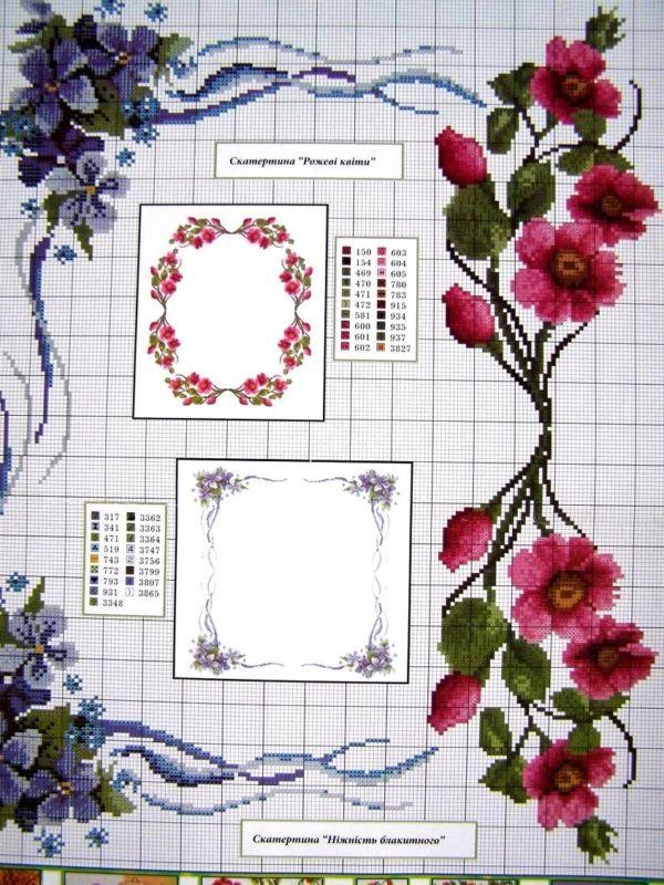 Uz 7 Cross Stitch Ukrainian Embroidery Flower Patterns Tablecloth Pillow Napkin Cross Stitch Flowers Embroidery Flowers Pattern Floral Cross Stitch