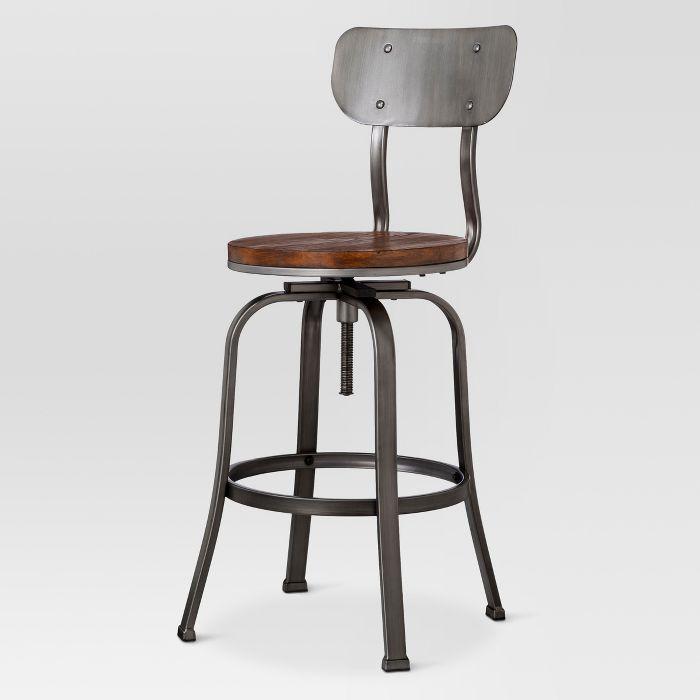 Dakota Adjustable Wood Seat Barstool Threshold In 2020 Adjustable Bar Stools Bar Stools Counter Stools