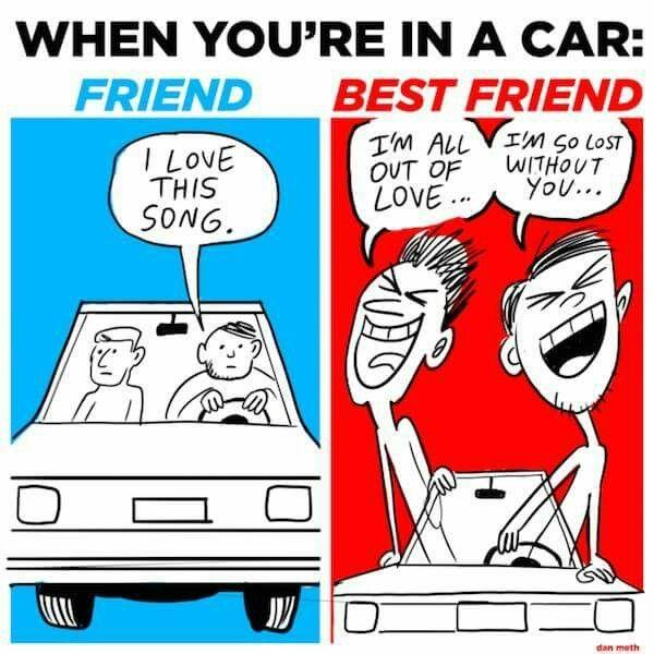 Best friends in the car.
