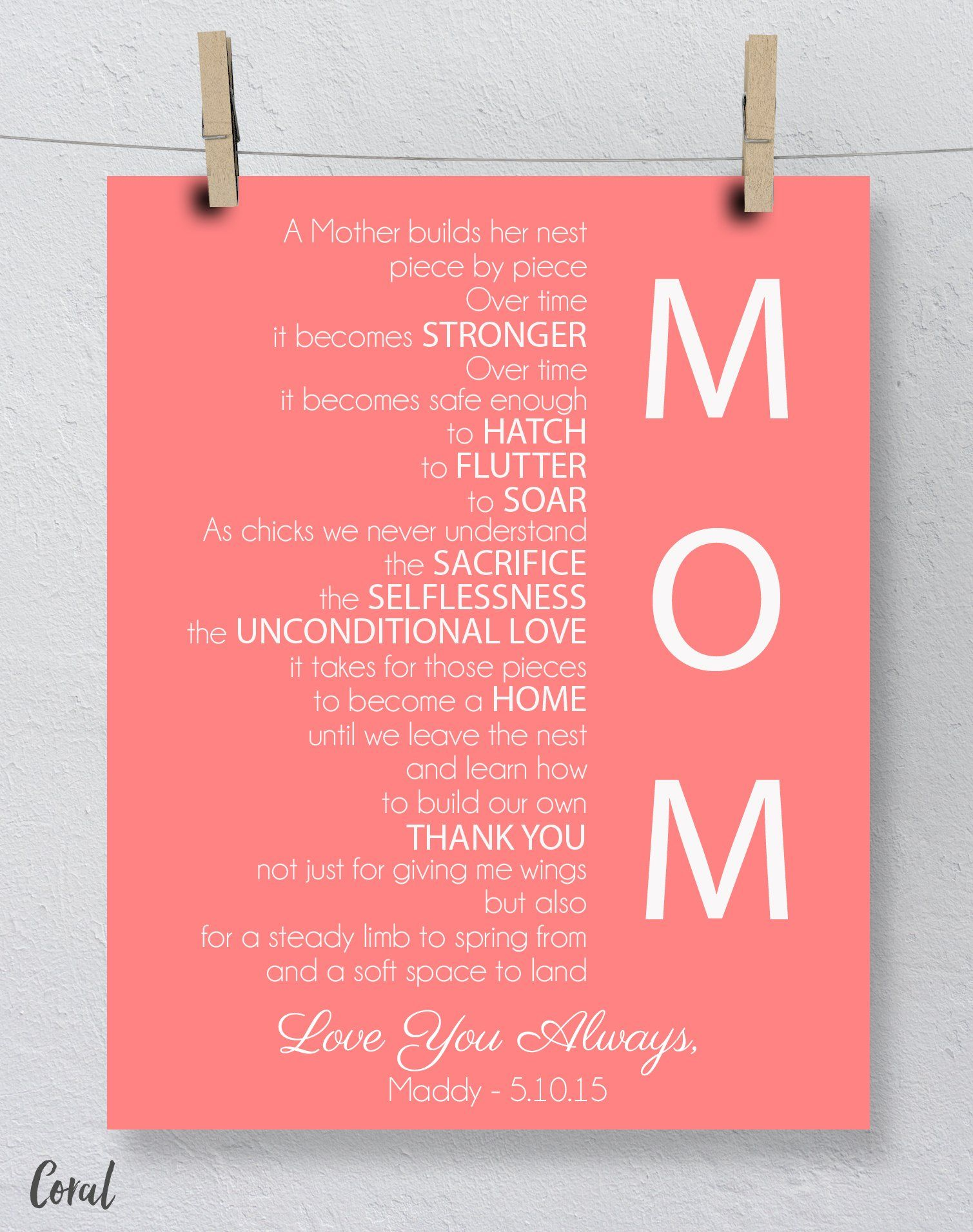 Gift For Mom On Wedding Day: Mother's Day Gift For Mom, Mother's Day Art Print