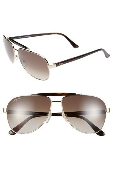 5c84032f33 Salvatore Ferragamo 60mm Aviator Sunglasses available at  Nordstrom Ray Ban  Sunglasses Sale