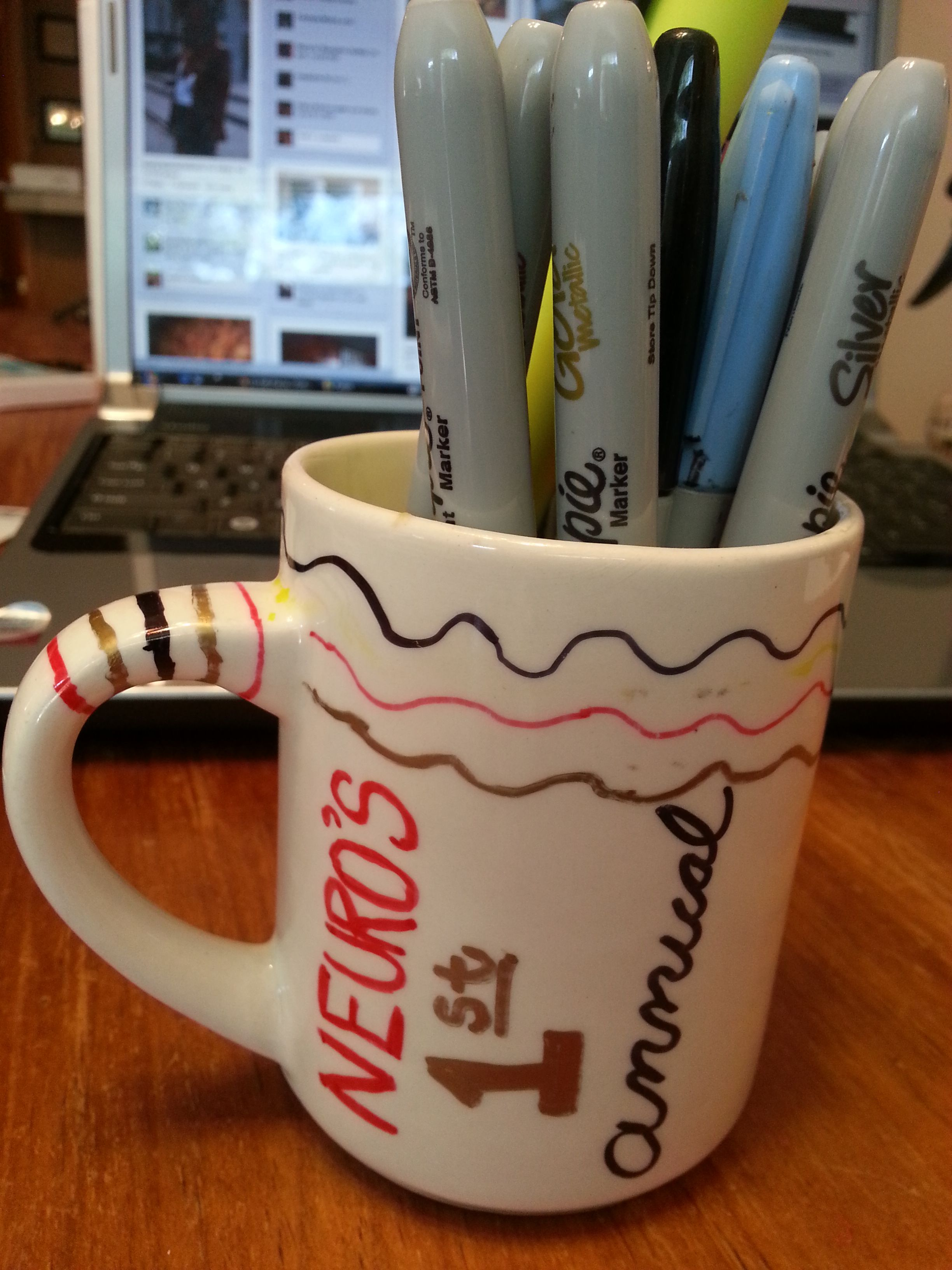 This was the only one I didn't give away for door prizes at my 2012 Cy-Hawk viewing party.  The others were a lot cooler. Got white coffee cups for 14 cents each at Salvation Army and they turned out awesome!  Gonna make more for Christmas gifts!