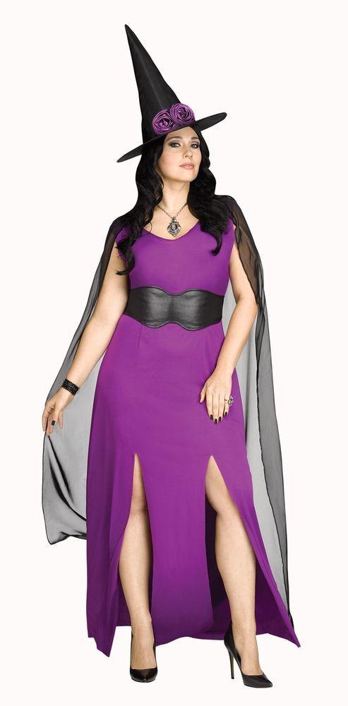 Midnight Magic Costume Womens Sexy Halloween Purple Witch Fancy