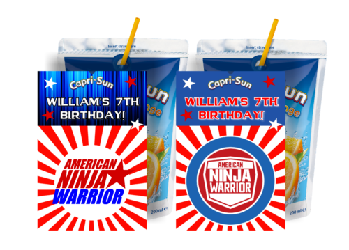 American Ninja Warrior Capri Sun Labels Birthday Party Favors Supplies Suns Birthday Party Favors Ninja Warrior Ninja Birthday Parties