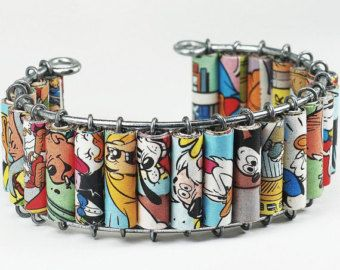 Paper Bead Jewelry- Upcycled Disney Comic Book Bracelet Cuff