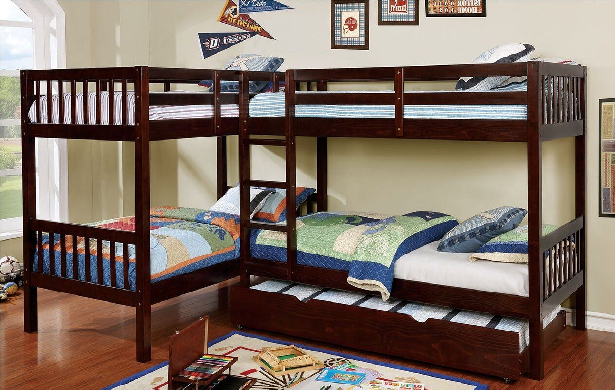 Lyme Quadruple Twin Bunk Bed Bunk Bed With Trundle Twin Bunk Beds Bunk Beds