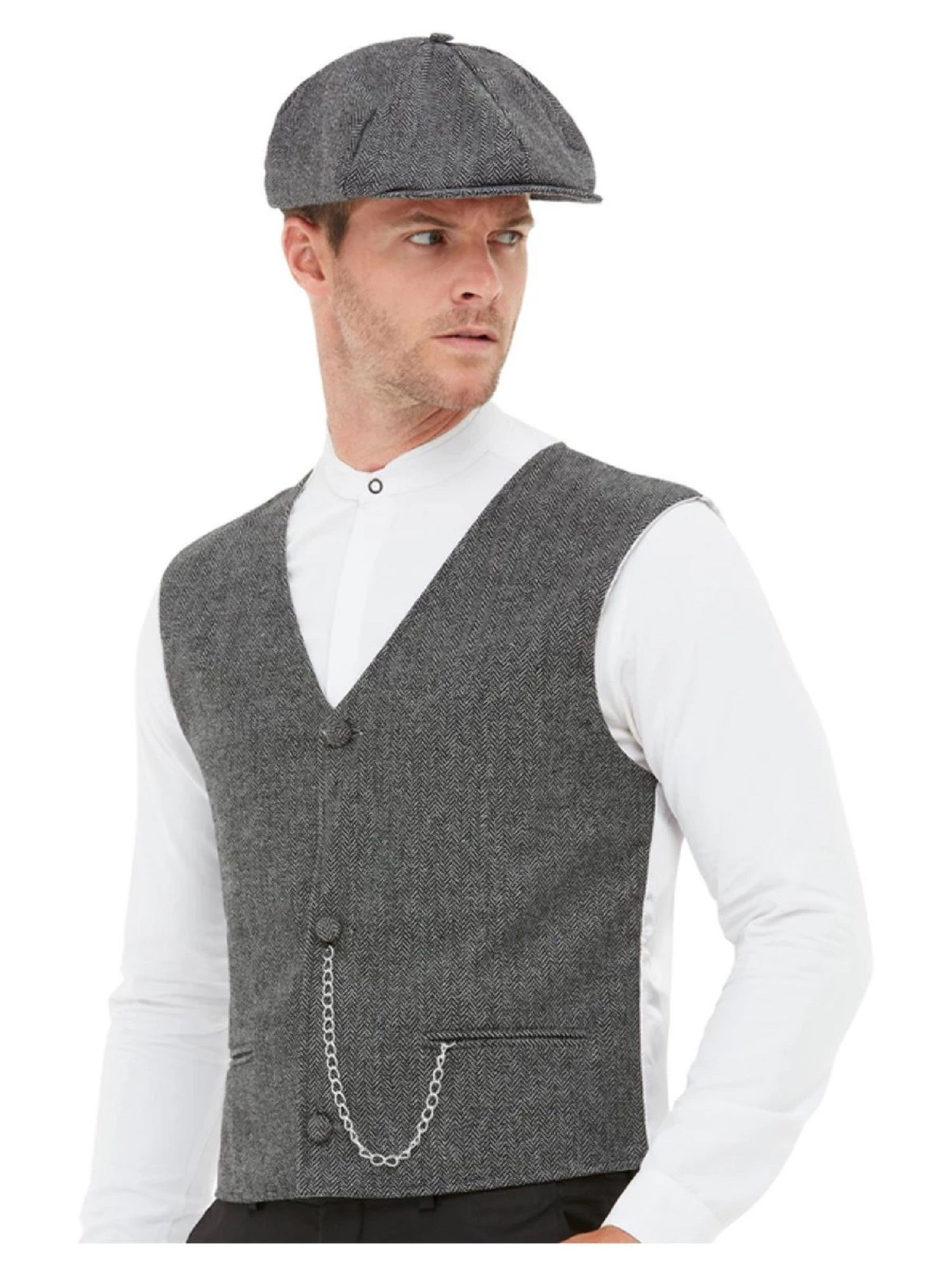 SHELBY GANGSTER COSTUME MENS PEAKY BLINDERS FANCY DRESS OUTFIT 1920S STAG DO