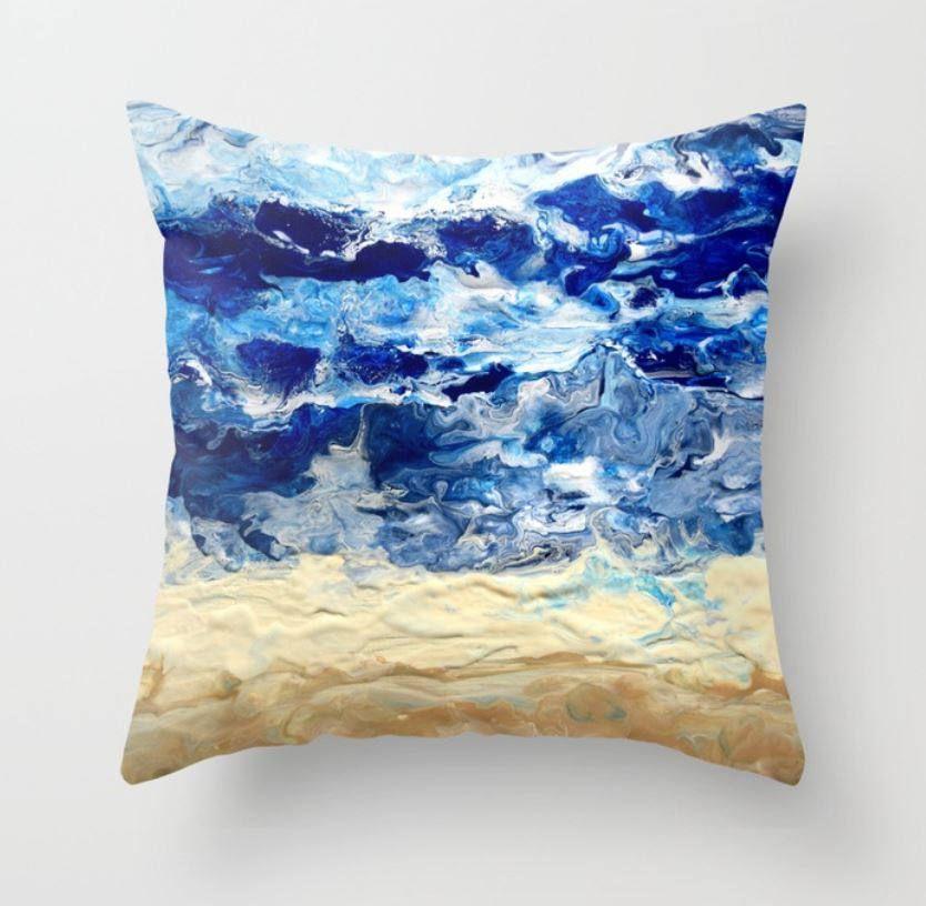 Throw Pillow Cushion Case Cover Abstract 17 Blue Tan Sand Beach Beachy Ocean Sea Modern Art By L Dumas B Throw Pillows Abstract Throw Pillow Throw Pillow Cases