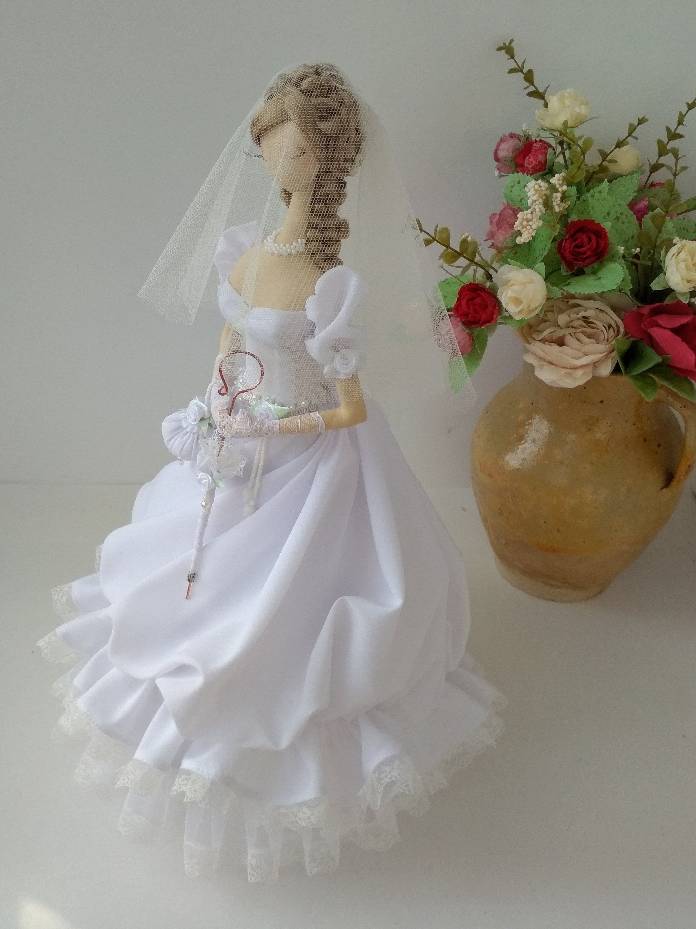 Doll of a bride, Doll in a white dress, Wedding dress, Doll in a wedding dress,Doll in a veil, Textile doll,Rococo style doll, Wedding gift #bridedolls