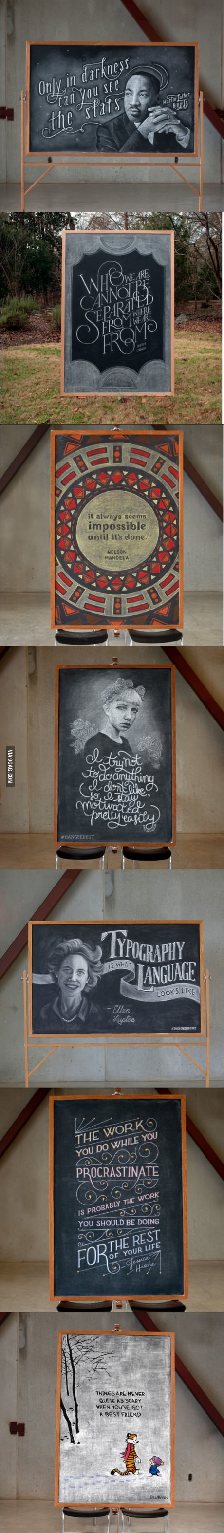 Two students have anonymously taken over a chalkboard on campus, they call themselves Danger Dust
