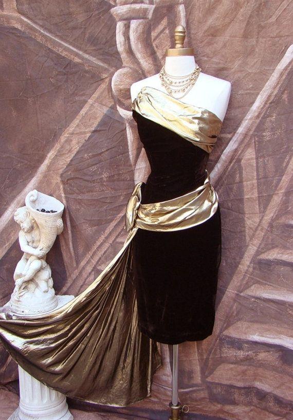 33f6ea55e6c Vintage 80s Prom Dress S - Strapless Velvet - Asymmetrical - Draped Gold  Lame