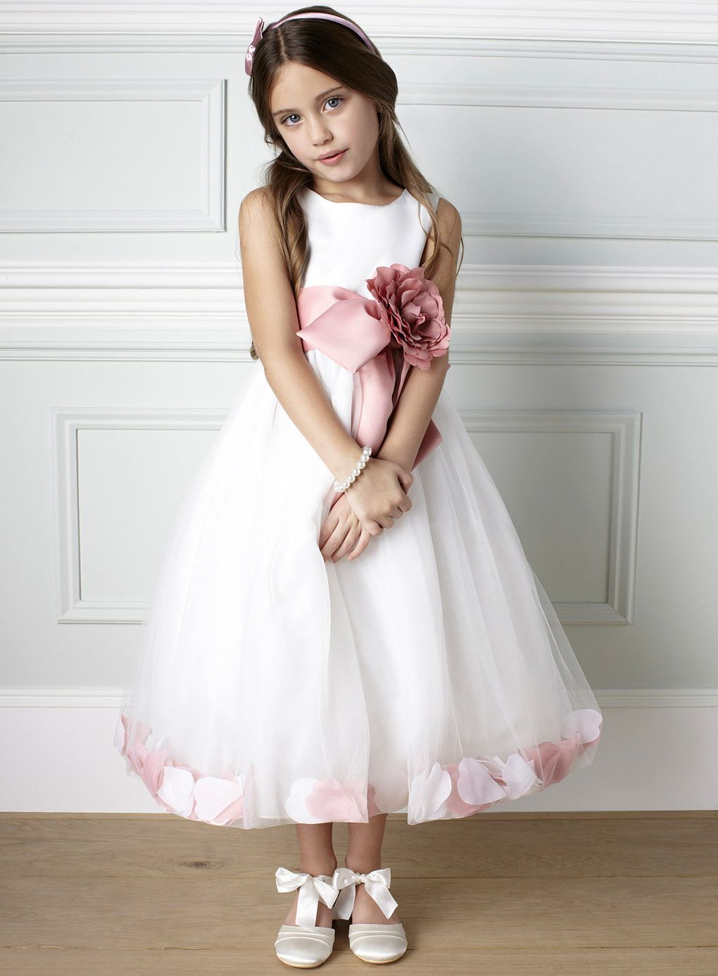 Fleur Petal Dusky Pink Bridesmaid Dress Young Bridesmaids
